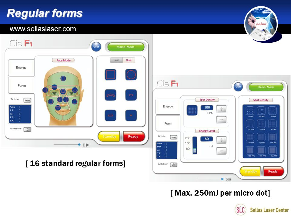Regular forms [ 16 standard regular forms] [ Max. 250mJ per micro dot]